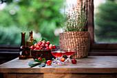 Home-made cherry liqueur