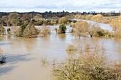 Flooded showground, Shrewsbury, UK