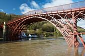 The Iron Bridge, Shropshire, UK during flooding