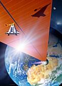 Orbital solar power station, illustration