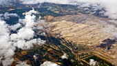 Open cast coal mine, aerial view