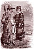 Siberian Aleutian native, 19th century illustration
