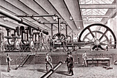 Steam factory for pneumatic post, 19th century illustration