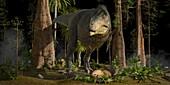 Tyrannosaurus rex near nest with eggs, illustration