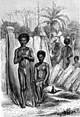 New Caledonian people, 19th century illustration