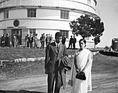 Indian-US astrophysicist Subrahmanyan Chandrasekhar and wife