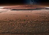 Olympus Mons and surroundings, Mars, illustration