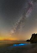 Milky Way and bioluminescent plankton