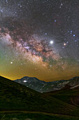 Milky Way core over mountains