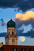 Full Moon rising over Cathedral, Passau, Germany