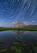 Star trails over Alpine lake, Alborz Mountains, Iran