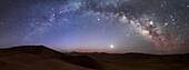 Milky Way arch over sand dunes, Lut desert, Iran