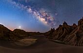 Milky Way and three planets, Lut desert, Iran