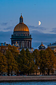Moon over Saint Isaac's Cathedral, Saint Petersburg, Russia