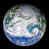 Triad of cyclones, satellite image