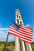 USA flag in front of Flight 93 Memorial, Pennsylvania, USA