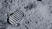 Apollo 11 bootprint on the Moon, illustration