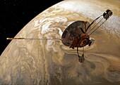 Pioneer 10 space probe passing Jupiter, illustration