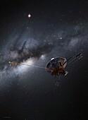 Pioneer 10 space probe leaving Solar System, illustration