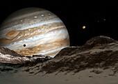 Jupiter from its moon Europa, illustration