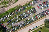 Automobile junk yard, aerial photograph