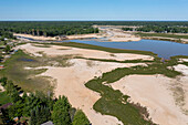 Empty lakes after dams failed, USA, aerial photograph