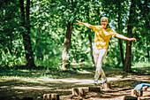 Balancing exercise outdoors
