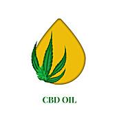 CBD oil and cannabis leaf, conceptual illustration