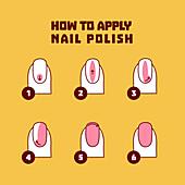 Nail polish application, illustration
