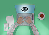 Person using a laptop showing an eye, illustration