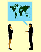 Man talking about the Earth to a woman, illustration