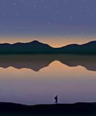 Hiker along the path of a mountain lake, illustration