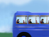 Passengers on a bus wearing face masks, illustration