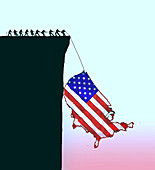 People pulling map of USA from a cliff, illustration