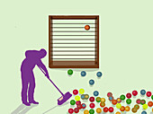 Man sweeping balls fallen from an abacus, illustration