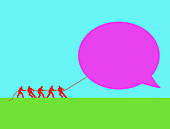 People in tug of war with a speech bubble, illustration