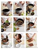 Preparing chocolate fudge with nuts