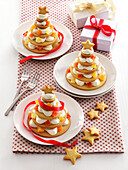 Alberelli di Natale (biscuit Christmas trees layered with cream)
