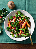 Carrots, broccoli and bacon