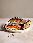 Salmon onigirazu - Japanese sushi sandwiches