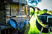 Barbecue utensils and Charcoal grill
