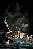 Buckwheat and mushroom soup