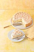 Rhubarb custard cake with a meringue topping
