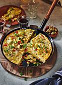 Spanish tortilla in a pan