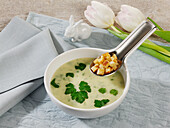 Parsley and potato soup with croutons
