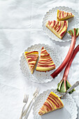 Coconut yoghurt tart with rhubarb