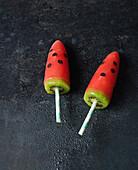 Watermelon ice lollies