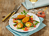 Asparagus medley with mozzarella croquettes and a strawberry-mustard sauce