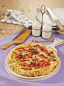 Asparagus tarte tatin with bacon and rosemary