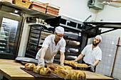 Bakers working in bakery